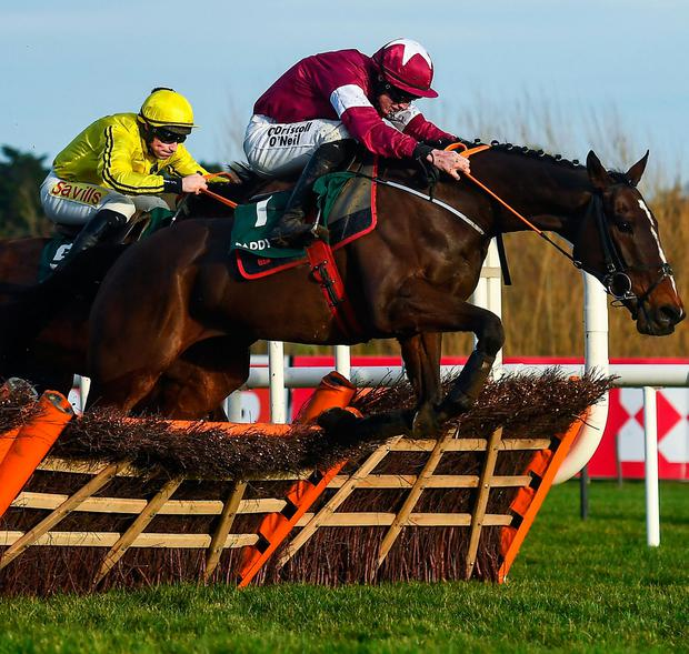 Abacadabras and Jack Kennedy jump the last in the Paddy Power Future Champions Novice Hurdle Pic: David Fitzgerald