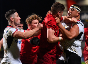 1 January 2018; Rodney Ah You of Ulster and Jack O'Donoghue of Munster tussle during the Guinness PRO14 Round 12 match between Ulster and Munster at Kingspan Stadium in Belfast. Photo by David Fitzgerald/Sportsfile