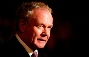 Martin McGuinness at the announcement of the first preference votes in the Irish Presidential Election at the count centre at Dublin castle. Photo: Niall Carson/PA Wire