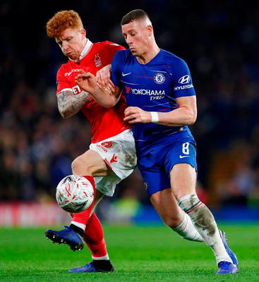 Nottingham Forest's Jack Colback in action with Chelsea's Ross Barkley. Photo: Eddie Keogh/Reuters