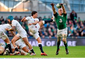 1 March 2015; Paul O'Connell, Ireland, blocks the kick from Ben Youngs, England. RBS Six Nations Rugby Championship, Ireland v England. Aviva Stadium, Lansdowne Road, Dublin. Picture credit: Matt Browne / SPORTSFILE