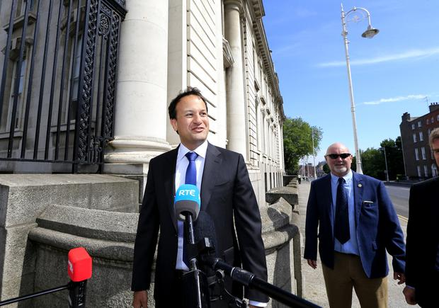 Taoiseach Leo Varadkar on his way in to Government buildings Picture; Gerry Mooney