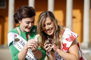 Repro Free: 20/08/2019 Abu Dhabi Rose Karen Cashman and Dublin Rose Laura Vines as Dáithi Ó Sé introduced all 32 hopeful Roses for the first time ahead of this years Rose of Tralee television show in Castletown House Celbridge before they began their journey to Tralee. Picture Andres Poveda