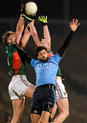 Cian O'Sullivan, Dublin, in action against Aidan O'Shea, left, and Diarmuid O'Connor, Mayo