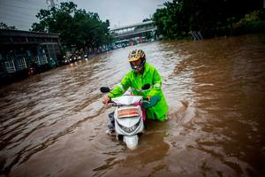 A man walks through flood water in Jakarta. Photo: Reuters