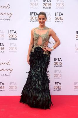 24/5/15 Amanda Byram pictured on the red carpet at the IFTA Awards at the Mansion House in Dublin. Picture: Arthur Carron