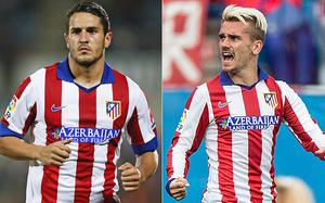 Atletico Madrid want to fight Chelsea's interest in Koke (left) and Antoine Griezmann with new contracts containing £100m release clauses