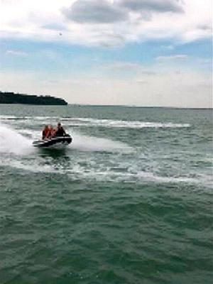 "Footage issued by Hampshire Police of a Williams Turbojet 325 rigid inflatable boat (Rib) being driven by Paul Carey who drove the boat before Aaron Brown caused the death of his friend Ryan McKinlay by ""showing off"" while driving the high-powered boat and crashing into his luxury cruiser at 30mph, a court has heard."