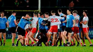 Both teams involved in a dispute during the first half of the Allianz Football League Division 1 Round 2 match between Tyrone and Dublin at Healy Park in Omagh, County Tyrone. Photo by Oliver McVeigh/Sportsfile