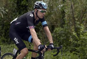 Bradley Wiggins beofre today's crash on the seventh stage of the Giro d'Italia