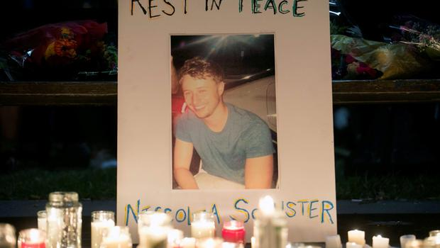 A picture of Niccolai Schuster is seen at a memorial during a candlelight vigil for the victims of the Berkeley balcony collapse in Berkeley, California June 17, 2015. Schuster was one of three men who died in the collapse, along with three women, including an American friend of the Irish students. All were in their early 20s. Seven others were hospitalized. REUTERS/Elijah Nouvelage