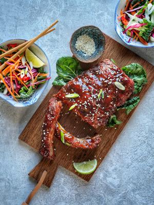 Hong Kong-style Char Sui BBQ Ribs With Five Spice & Ginger. Food styling and photography by Jennifer Oppermann