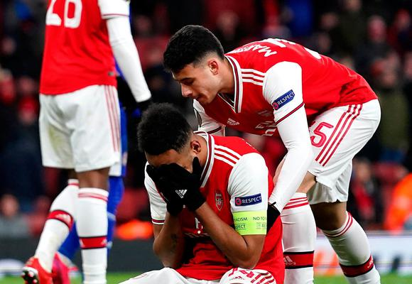 Arsenal's Pierre-Emerick Aubameyang after a missed chance