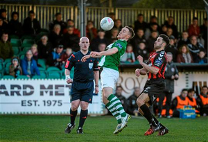 Graham Kelly, Bray Wanderers, in action against Roberto Lopes, Bohemians. SSE Airtricity League Premier Division, Bray Wanderers v Bohemians, Carlisle Grounds, Bray, Co. Wicklow (Cody Glenn / SPORTSFILE)