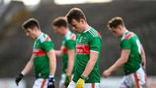Mayo players leave the field after defeat to Tyrone at Elverys MacHale Park in Castlebar saw them relegated to Division 2. Photo by Piaras Ó Mídheach/Sportsfile