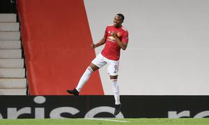 WINNER: Manchester United's Anthony Martial celebrates scoring his side's second goal last night