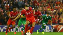 Steven Gerrard's 'collapsed core' as he struck a penalty for Liverpool against Ludogorets would put strain on his groin muscles, according to performance coach Dave Aldred. Photo: Clive Brunskill/Getty Images