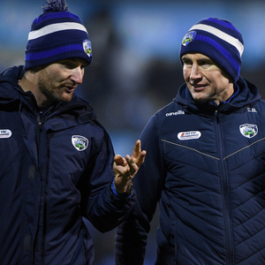 HUGE PROGRESS: Laois manager Eddie Brennan (r) with selector Niall Corcoran during last month's Walsh Cup match against Dublin at Parnell Park, Dublin. Photo: Matt Browne/Sportsfile