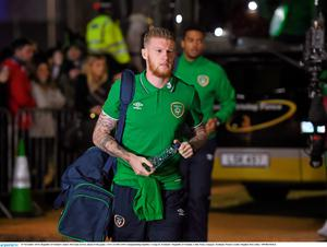 Republic of Ireland's James McClean arrives ahead of the game.