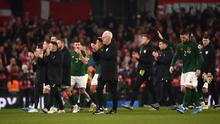 Republic of Ireland manager Mick McCarthy applauds the fans with his team following the UEFA EURO2020 Qualifier match between Republic of Ireland and Denmark at the Aviva Stadium in Dublin. Photo by Harry Murphy/Sportsfile