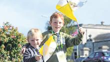 Daniel (4) and Christopher (6) McKenna from Meath at the World Meeting of Familes at the RDS Dublin. Photo: Justin Farrelly