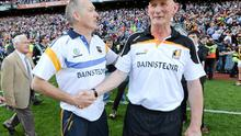 Kilkenny manager Brian Cody - shaking hands with his Tipperary counterpart Eamon O'Shea - thought the 'changing' free against Brian Hogan was harsh. Photo: Stephen McCarthy / SPORTSFILE