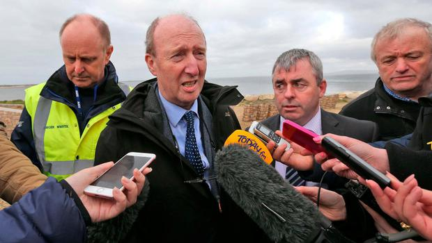 Minister Shane Ross speaks to the media at the scene on Blacksod Pier. Photo: Colin Keegan, Collins Dublin.