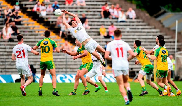 Colm Cavanagh was typically dominant in the air during Tyrone's victory over Donegal in Clones last weekend. Photo: OLIVER McVEIGH/SPORTSFILE