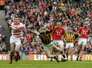 Donal Og Cusack, Cork, in action against Henry Shefflin, Kilkenny during the 2004 All-Ireland final