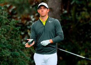 Rory McIlroy waits on the 15th tee during a practice round prior to the start of the 2017 Masters Tournament at Augusta National Golf Club, Georgia. Photo: GETTY