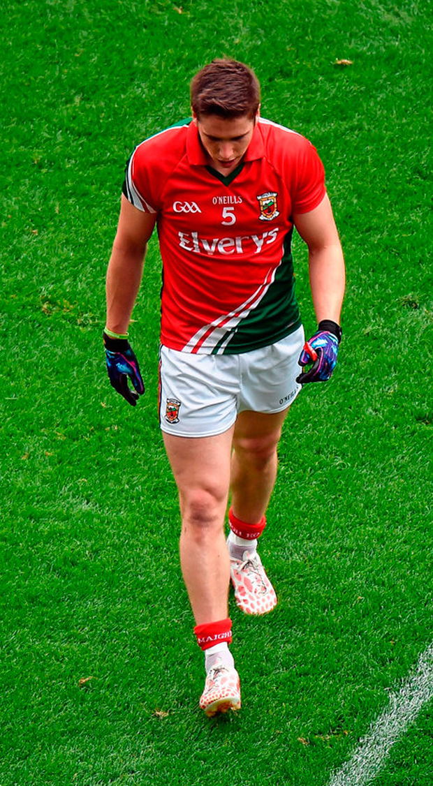 Lee Keegan leaves the field after being sent off against Kerry. Photo: Sportsfile