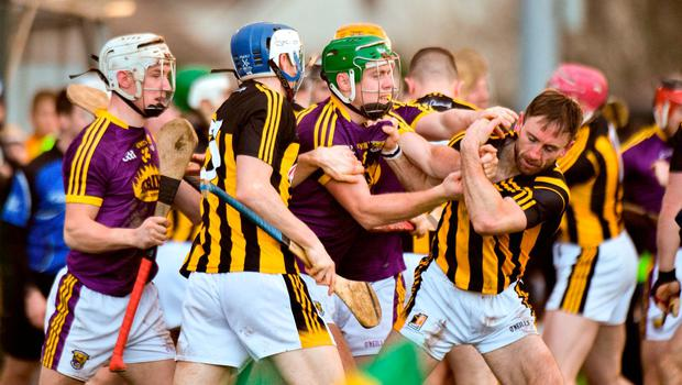 Wexford and Kilkenny players tussle during the Bord na Mona Walsh Cup semi-final match between Wexford and Kilkenny at Bellefield in Wexford. Photo by Matt Browne/Sportsfile