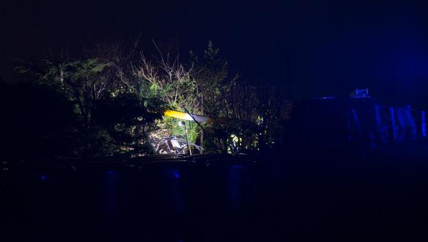 Debris in the bushes at the scene of the helicopter crash in the Cooley Mountains. Photo: Ciara Wilkinson