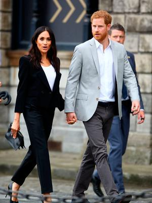 The Duke and Duchess of Sussex, Prince Harry and Meghan Markle, pictured in Trinity College after their visit to the book of Kells. Picture: Gerry Mooney