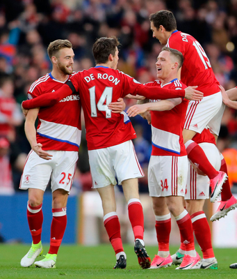 Middlesbrough celebrate. Photo: Owen Humphreys/PA Wire