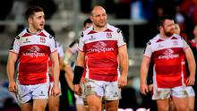 Ulster's Paddy Jackson, left, and Rory Best following their defeat in the European Rugby Champions Cup Pool 5 Round 5 match between Exeter Chiefs and Ulster at Sandy Park in Exeter, England. Photo by Ramsey Cardy/Sportsfile