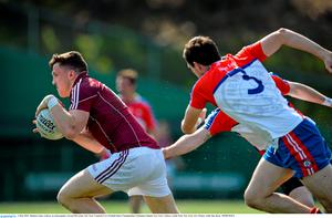3 May 2015;  Damien Comer, Galway, in action against  Gerard McCartan, New York. Connacht GAA Football Senior Championship, Preliminary Round, New York v Galway. Gaelic Park, New York, USA. Picture credit: Ray Ryan / SPORTSFILE