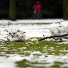 A melting snowman lays in a park (Photo: Martin Gerten/DPA/AFP via Getty Images)