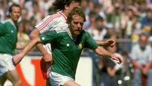 Grealish in action for Ireland against Switzerland in a World Cup qualifier back in 1985