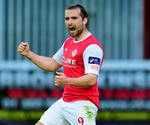 St Pat's Christy Fagan celebrates after scoring his side's third goal last night