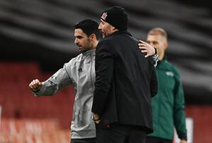 Arsenal manager Mikel Arteta with Dundalk coach Filippo Giovagnoli after their Europa League match at the Emirates. Photo: REUTERS/Dylan Martinez