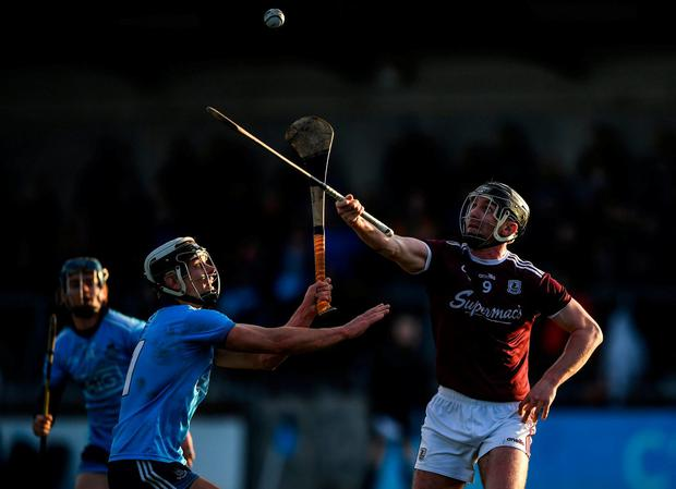 Aidan Harte of Galway in action against Cian Boland of Dublin. Photo by Harry Murphy/Sportsfile