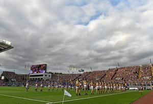 Kilkenny and Tipperary players parading before the All-Ireland hurling final replay last September. Playing the hurling final in August may seem like a small concession but, in reality, it's not