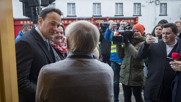 Roots: Taoiseach Leo Varadkar canvassing with local Fine Gael candidate Peter Burke in Tyrellspass, Co Westmeath. Picture: Arthur Carron.