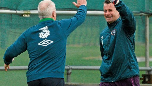 After the disappointment of the FA Cup, Shay Given was all smiles in Malahide with coach Seamus McDonagh after winning a game of 'head tennis'