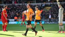 Diogo Jota celebrates scoring his and Wolves' second goal of the game. Photo: Nick Potts/PA Wire