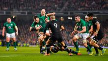 Cian Healy of Ireland is tackled by Ryan Crotty of New Zealand at the Aviva the lasdt time the teams met