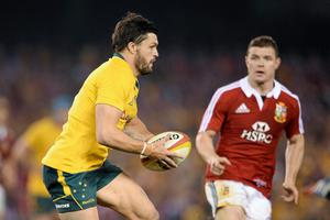 Adam Ashley Cooper, Australia, in action against Brian O'Driscoll during the Lions Tour in 2013