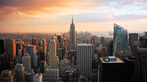 New York City's Manhattan skyline with the empire state building, centre