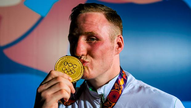 27 June 2015; Michael O'Reilly, Ireland, after being presented with his Men's Boxing Middle 75kg gold medal. 2015 European Games, Crystal Hall, Baku, Azerbaijan. Picture credit: Stephen McCarthy / SPORTSFILE